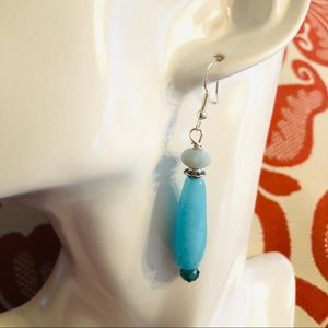 Frontrow.style Jewelry - 🇺🇸 Sterling Silver Earrings Blue Jade Beautiful